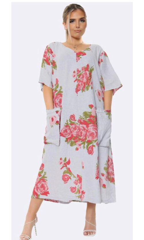 Red Rose Linen Dress @ The Clothes Horse Wentworth